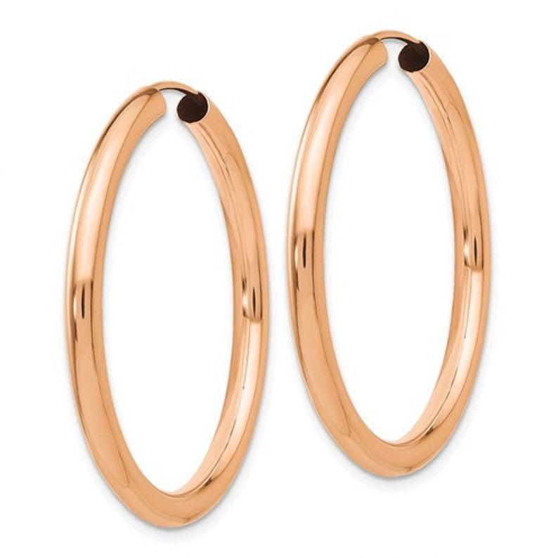 14K Rose Gold Endless Round Hoop Earrings 34mm x 2.75mm