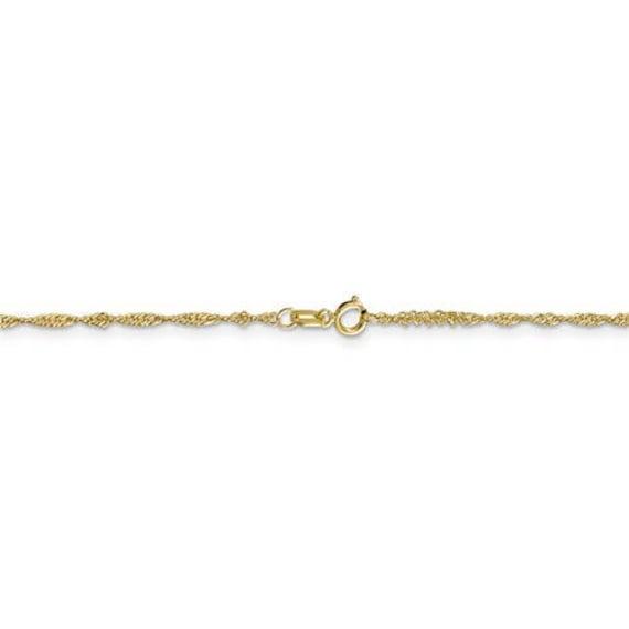 14k White Gold 0.80mm Round Snake Chain Anklet 10 Inch