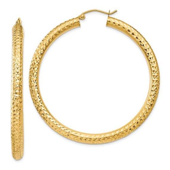 Ladies 10k White Gold Polished Endless Hollow Tube Hoop Earrings 20mm x 1.2mm