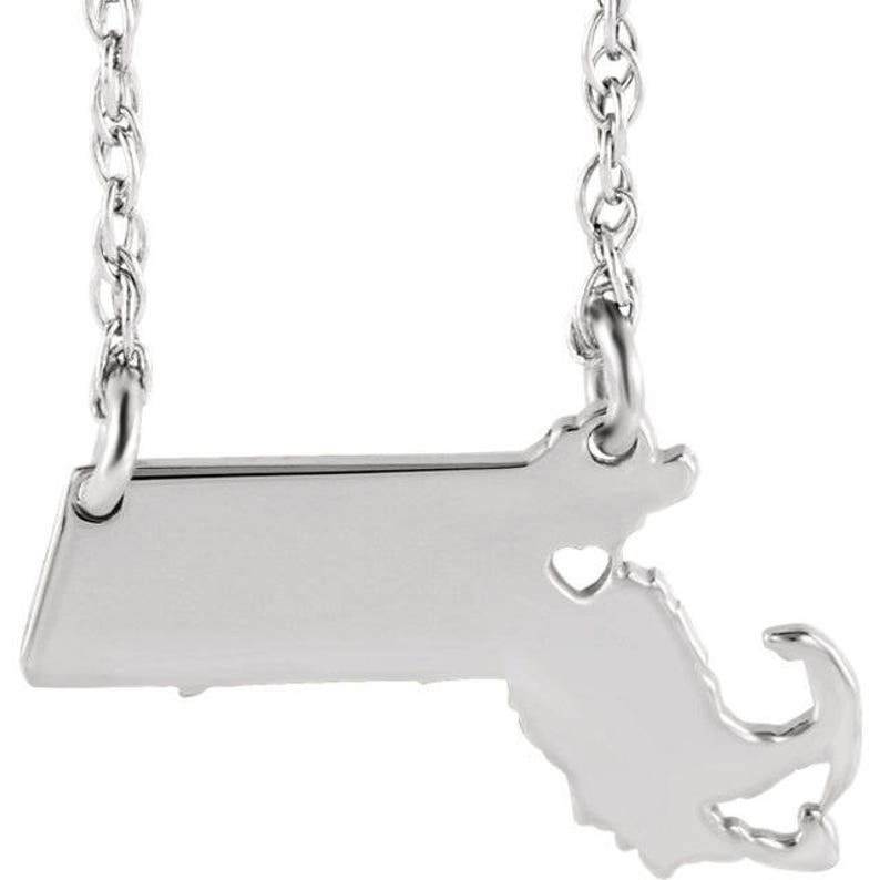 14K Yellow Gold 14k White Gold 14k Rose Gold 10k Gold Sterling Silver Massachusetts MA State Map Necklace Personalized Heart Pierced City