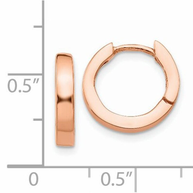 14K Rose Gold 13mmx2mm Polished Classic Hinged Hoop Huggie Earrings