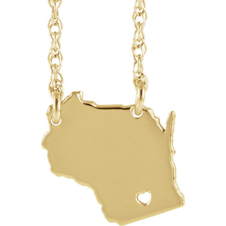 14K Yellow Gold 14k White Gold 14k Rose Gold or 10k Gold or Sterling Silver Wisconsin WI State Map Necklace Personalized Heart Pierced City