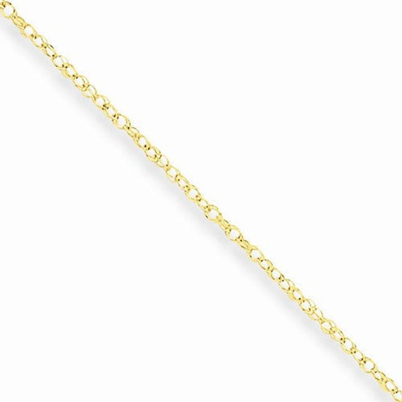 10k Yellow Gold Spiga or Wheat Chain Ankle Bracelet