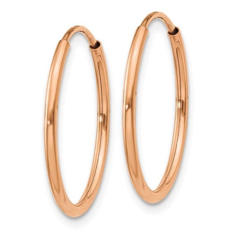14K Rose Gold Endless Round Hoop Earrings 18mm x 1.25mm