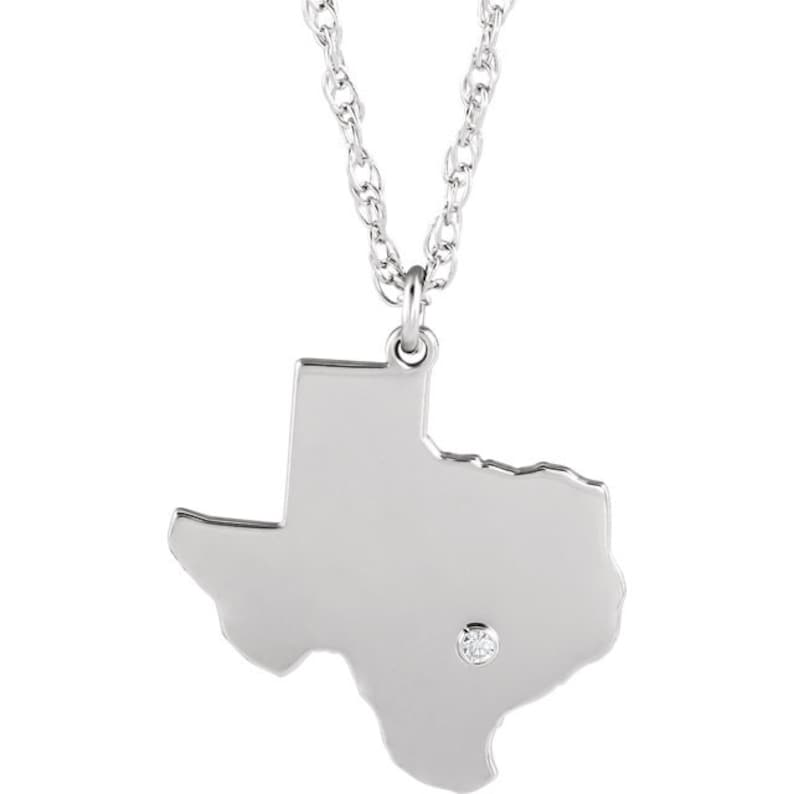 14K Yellow Gold 14k White Gold 14k Rose Gold 10k Gold Sterling Silver Texas TX State Map Necklace Personalized Diamond City