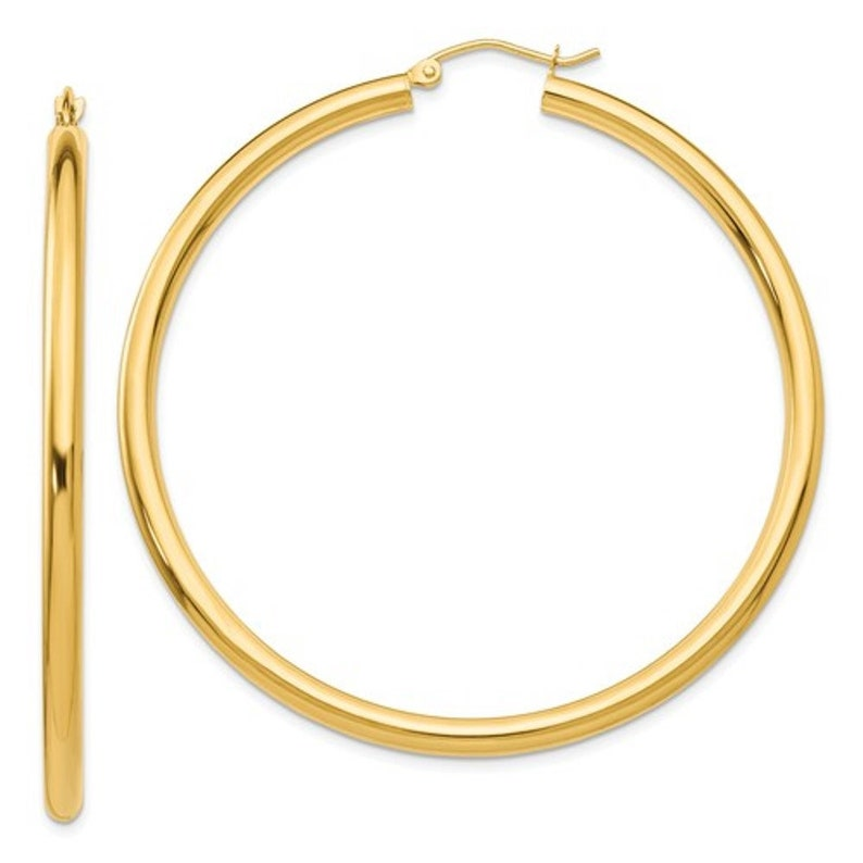 e1903b7ee0062 14K Yellow Gold 53mm x 3mm Classic Round Hoop Earrings