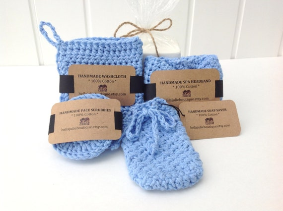 Crochet Spa Set Crochet Washcloth Crochet Scrubbies Crochet Etsy