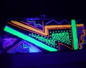 Glow in the Dark Party Purse Black Light Bag Black Patent Leather Purse Hand-painted Clutch Colorful Tribal Handbag Summer Rave Purse