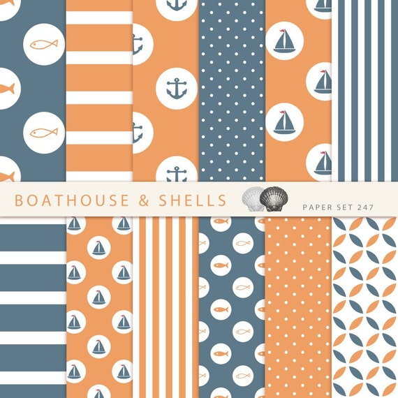 segeln blau orange scrapbook papier digital bastelpapier etsy. Black Bedroom Furniture Sets. Home Design Ideas