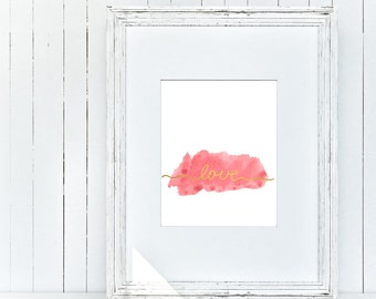 watercolor love sign - digital typography print - inspirational print - wall print - wall sign - wp_102