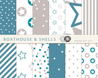 TURQUOISE STARS Scrapbooking paper pack - 12 digital papers with stars/dots/stripes prints in turquoise and taupe, download, printable, 317