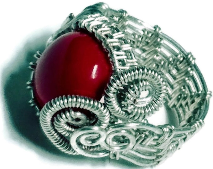 Sterling Silver Wire-wrapped Ring featuring Genuine Red Coral Gemstone