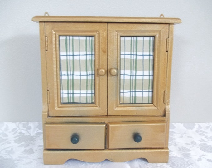 "Mini Armoire Wood Jewelry Box with Gold and Green Plaid Design in Front ""windows""- Top with 2 extra drawers at bottom PERFECT SIZE"