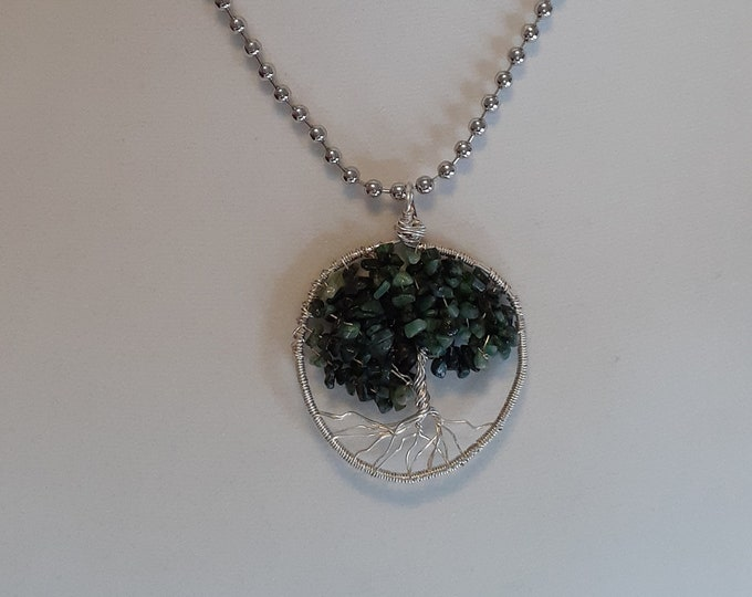 Tree of Life Emerald Silver Wire wrapped pendant on chain