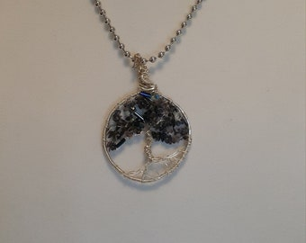 Tree of Life Necklace Iolite Silver