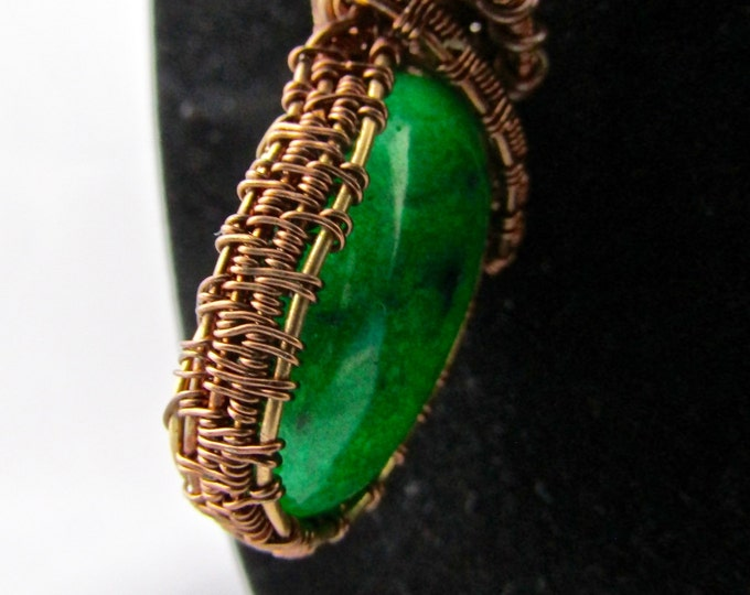 Green Jasper Necklace Reversible Antique and Regular Bronze Wire wrap necklace with matching earrings