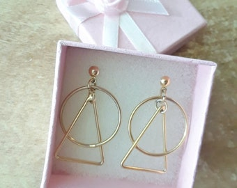 Vintage earrings gold triangle circle posts
