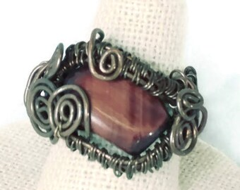 Red Tigers Eye Copper Swirl Wire Wrap Ring