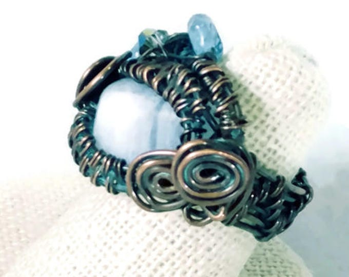 Blue Lace Agate Wire Wrap Ring-Blue Swirl Statement Ring- Blue Lace Agate Gemstone Ring- Copper Wire Wrapped Gemstone Ring