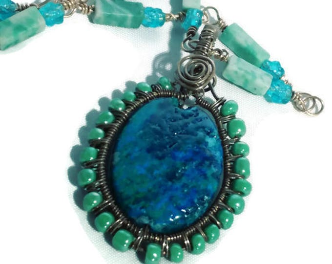 Chrysocolla Pendant wire wrapped in Bronze with Handmade Moss Agate Beaded Chain