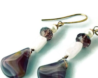 Purple Amethyst, Moonstone and Pearl Drop Earrings- Nickel Free- Safe for ears