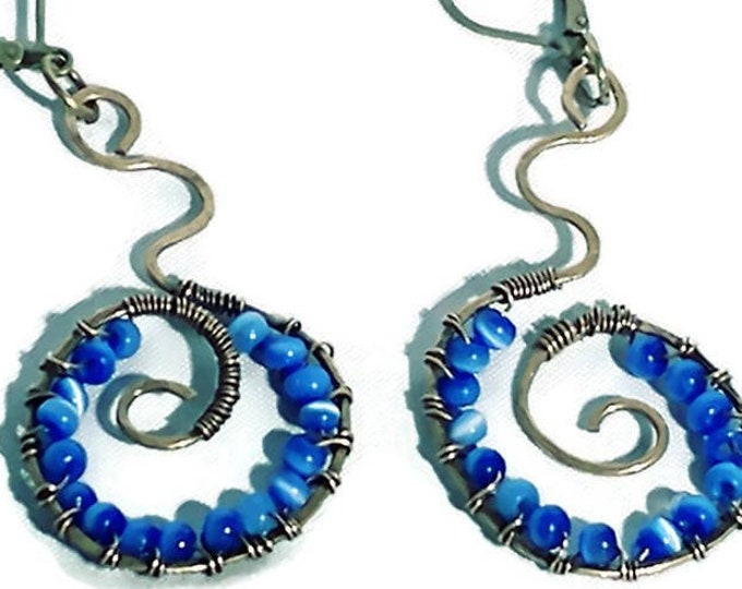 Funky Swirl Earrings- Blue Beaded Bronze Earrings with Cats Eye Beads