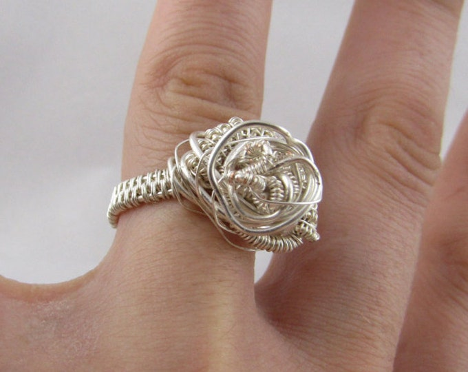 Unique Artistic Ring- Silver Wire Wrap Unisex- Special gift- size 6