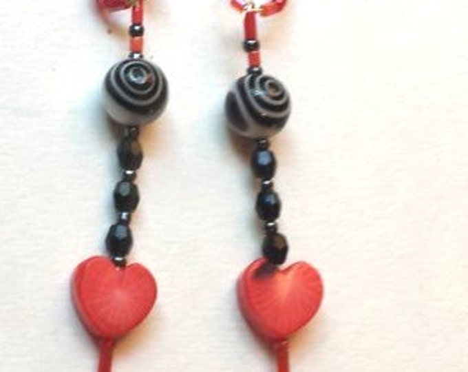 Black White Swirl Earrings Dangling Red Coral Hearts