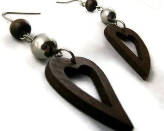 Heart Earrings- Wood Dangle and Drop Earrings - 70s Boho Style