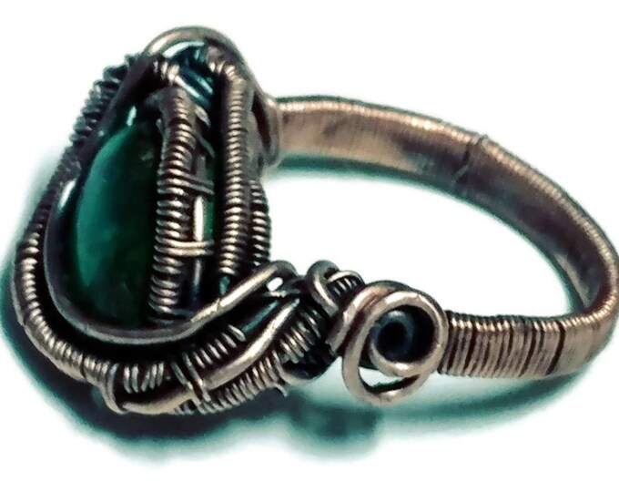 Green Turquoise Ring Wire Wrapped in Antique Copper - Size 7
