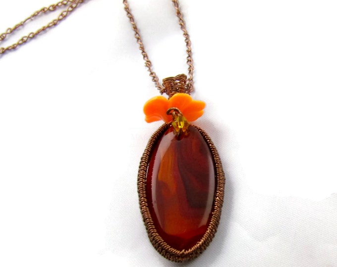 CLEARANCE-Carnelian and Copper Wire Wrap Necklace with Orange Flower Bail