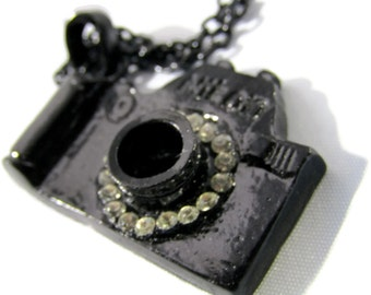 Mini- Nikon Camera Rhinestone Pendant Necklace on a Black Chain