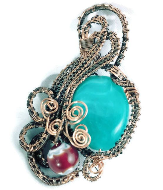Teal Stone Copper Wire Wrap Pendant