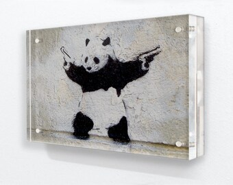 Banksy Panda Guns Grey Horizontal Acrylic Block Photo Frame Jpg 340x270 Gangster Badass Graffiti Drawing