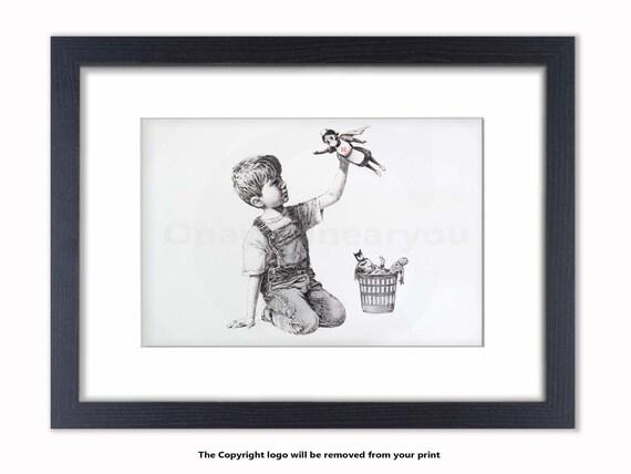 NHS Banksy Mounted /& Framed Print Superhero Nurse