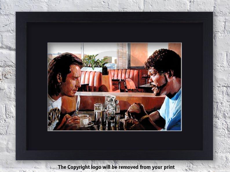 Pulp Fiction Inspired Art Vince And Jules Diner Mounted /& Framed Art Print