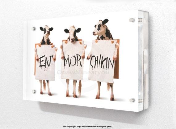 Banksy Eat Mor Chikin Acrylic Block Photo Frame
