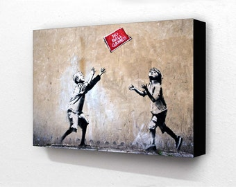 Banksy No Ball Games H 6 x 4 Inches ( 15 x 10 cm ) Postcard Size Block Mounted Print