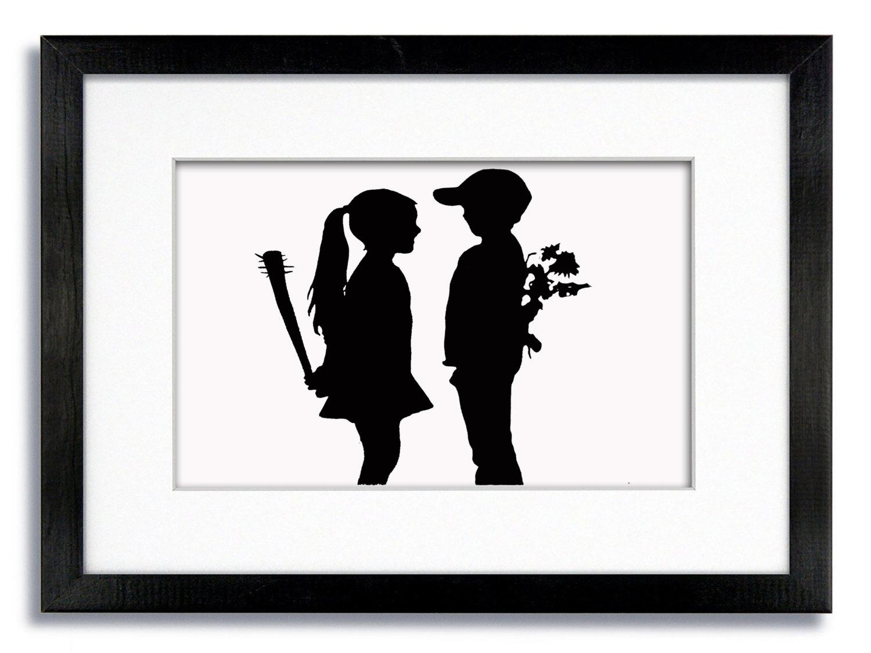 Banksy Boy und Girl-Baseball-Schläger und Blumen montiert   Etsy