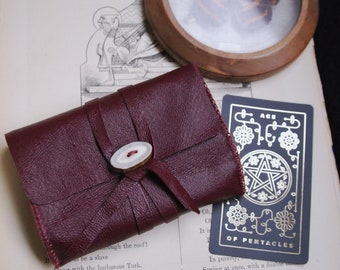 burgundy tarot bag • recycled leather tarot case - DETAILS IN DESCRIPTION