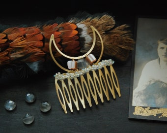 moon crystal hair comb •  crescent moon hair piece with moonstone - witchy hair jewelry