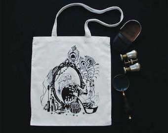 vanity • witchy vulture print tote bag
