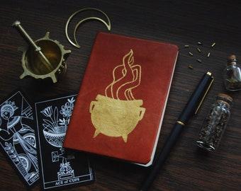 cauldron notebook • pocket leather potions journal - witch notebook