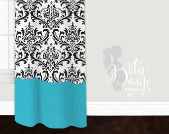 Tiffany Blue And Black Damask Custom Baby Nursery Curtains