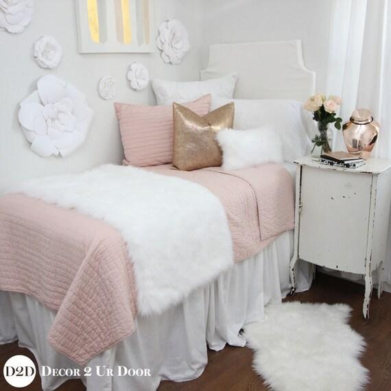 blush rose gold fur dorm bedding set dorm bedding set etsy. Black Bedroom Furniture Sets. Home Design Ideas