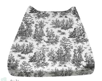 Shabby Chic Black & White Toile Gender Neutral Baby Changing Pad Cover | Toile Changing Pad Cover | Toile Changing Pad
