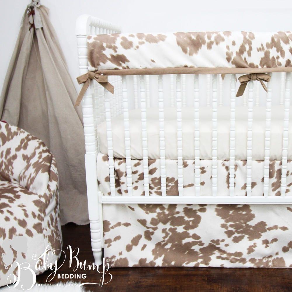 Tan Cowhide Gender Neutral Baby Crib Bedding Rustic