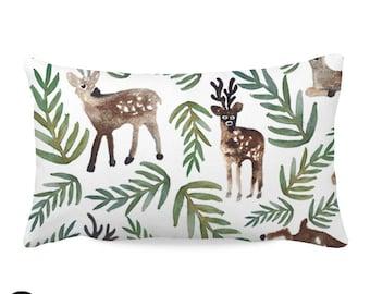 Watercolor Woodland Deer Nursery Throw Pillow Cover   Woodland Throw Pillow Cover   Deer Nursery Pillow Cover   Woodland Deer Nursery