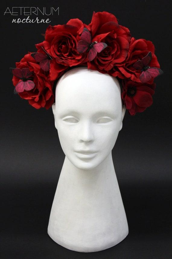 Rouge Rose Coiffure Gothique Accessoire De Coiffure Costume Etsy