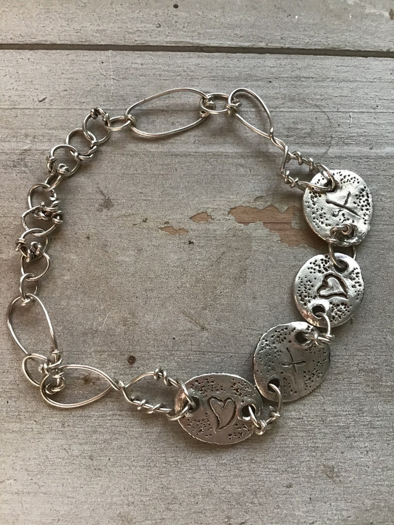 a74a1257d854c Hearts & Kisses Bespoke Personalised Silver Charm Link Bracelet